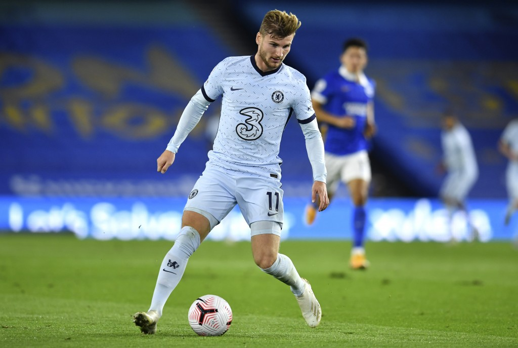 Chelsea's Timo Werner attempt to control the ball during the English Premier League soccer match between Brighton and Chelsea at Falmer Stadium in Bri...