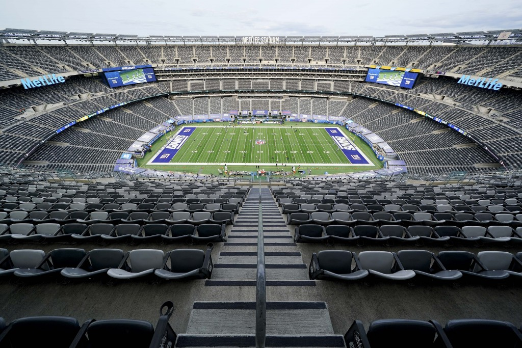 Seats sit void of fans before an NFL football game between the New York Giants and the Pittsburgh Steelers, Monday, Sept. 14, 2020, in East Rutherford...