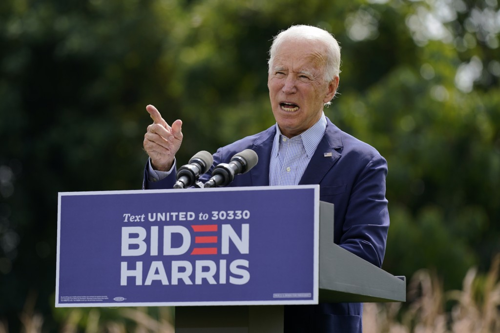 Democratic presidential candidate and former Vice President Joe Biden speaks about climate change and wildfires affecting western states, Monday, Sept...