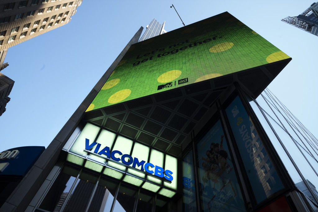 FILE - In this Aug. 5, 2020 file photo, the ViacomCBS headquarters is shown in New York's Times Square. ViacomCBS will rebrand its CBS All Access stre...