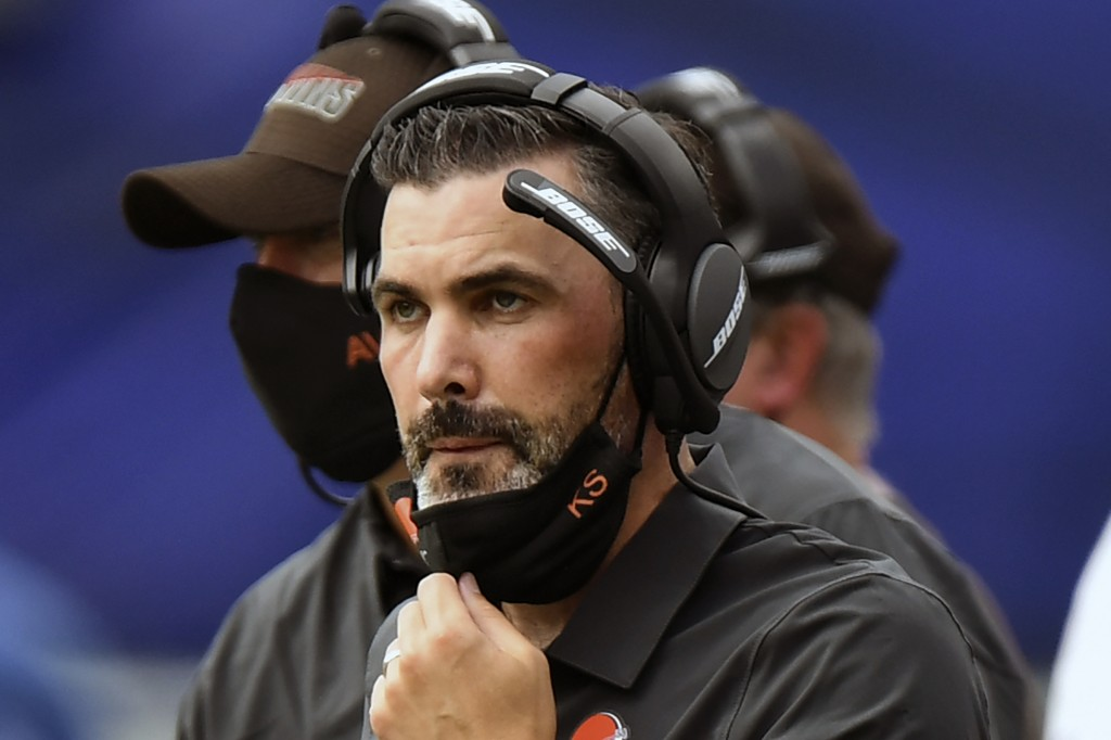 FILE - Cleveland Browns head coach Kevin Stefanski looks on in the first half during an NFL football game against the Baltimore Ravens, Sunday, Sept. ...