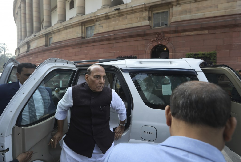 FILE-In this Feb. 11, 2020 file photo, Indian Defense Minister Rajnath Singh arrives at Parliament House in New Delhi, India. Singh accused China on T...
