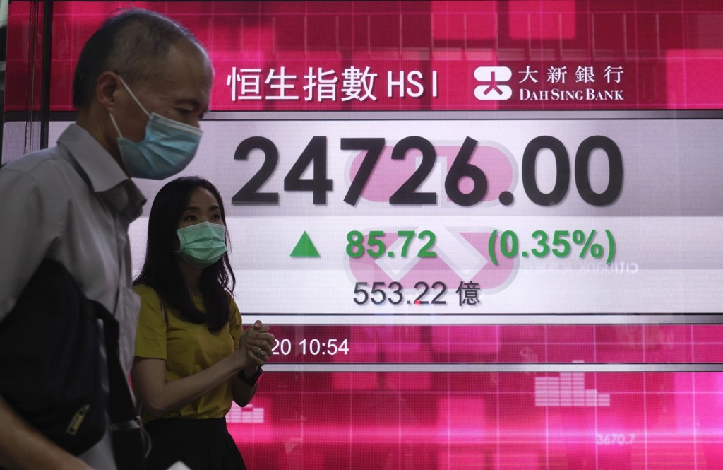 People wearing face masks walk past a bank's electronic board showing the Hong Kong share index in Hong Kong, Tuesday, Sept. 15, 2020. Asian stocks we...
