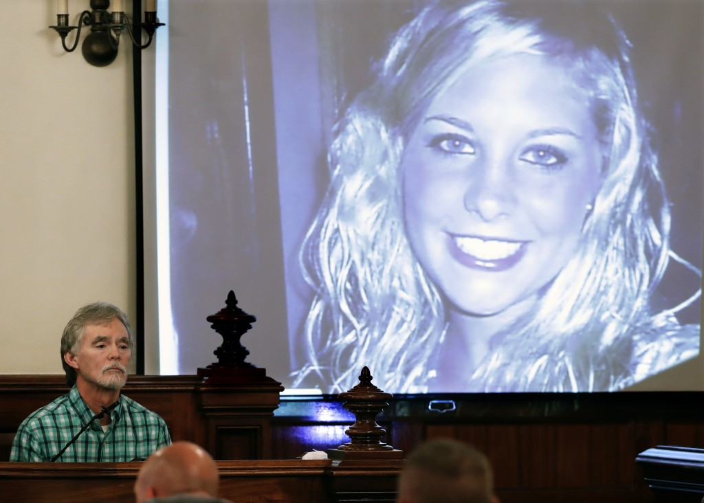 FILE - In this Sept. 11, 2017 file photo, Dana Bobo, let, father of Holly Bobo testifies in the trial of Zachary Adams as a photo of Holly Bobo is dis...