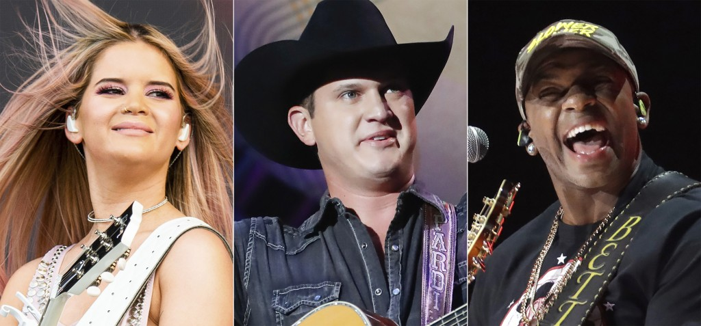 This combination photo shows country music artists, from left, Maren Morris, Jon Pardi and Jimmie Allen, who will perform at the 55th annual ACM Award...