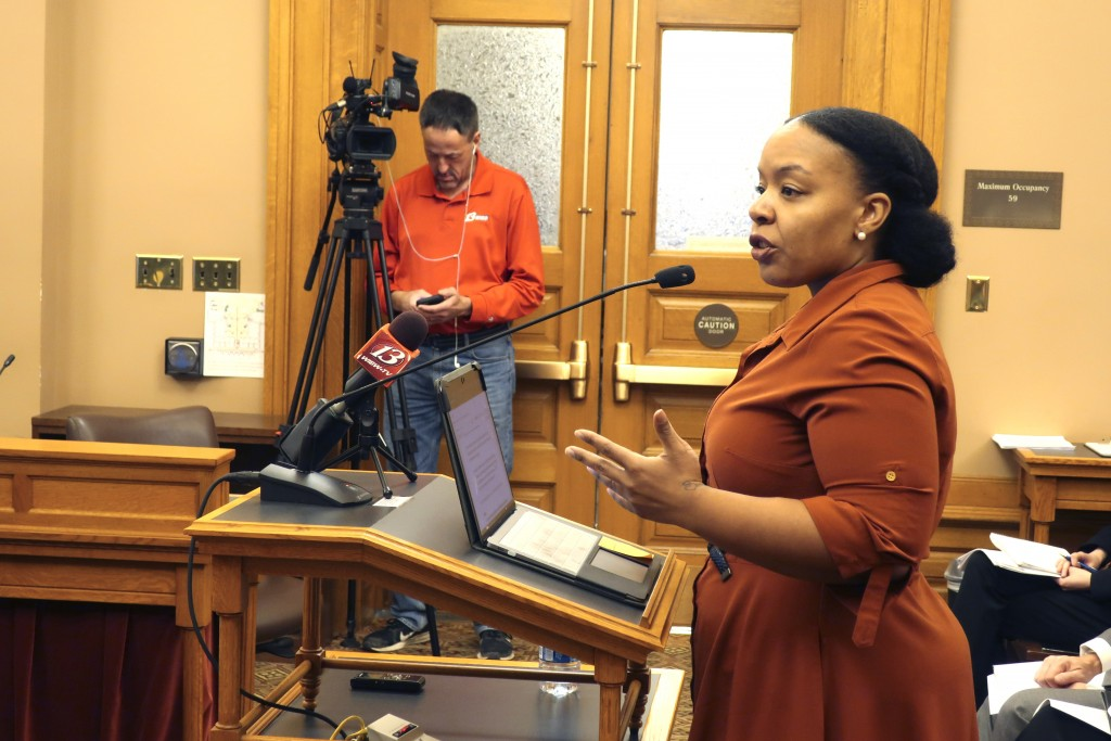 FILE - In this Jan. 28, 2020, file photo, Michele Watley, founder of Shirley's Kitchen Cabinet, testifies in favor of a bill before the Kansas Legisla...