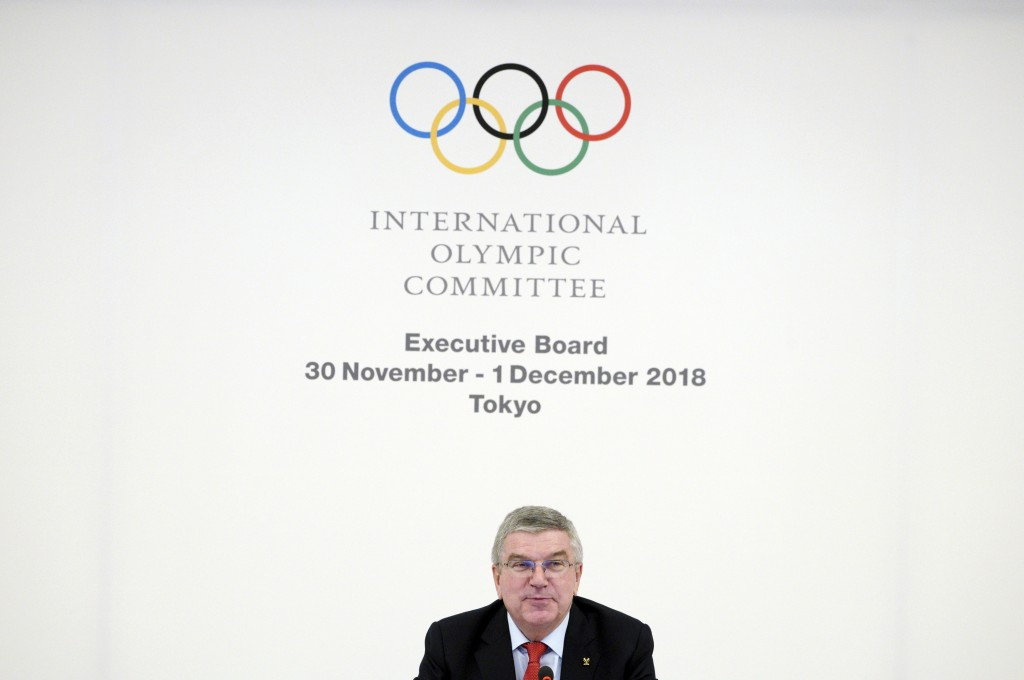 FILE - In this Nov. 30, 2018, file photo, International Olympic Committee (IOC) President Thomas Bach attends an IOC Executive Board meeting in Tokyo ...