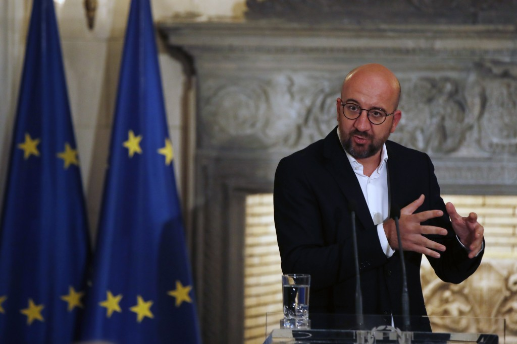 European Council President Charles Michel makes statements after his meeting with Greece's Prime Minister Kyriakos Mitsotakis at Maximos Mansion in At...