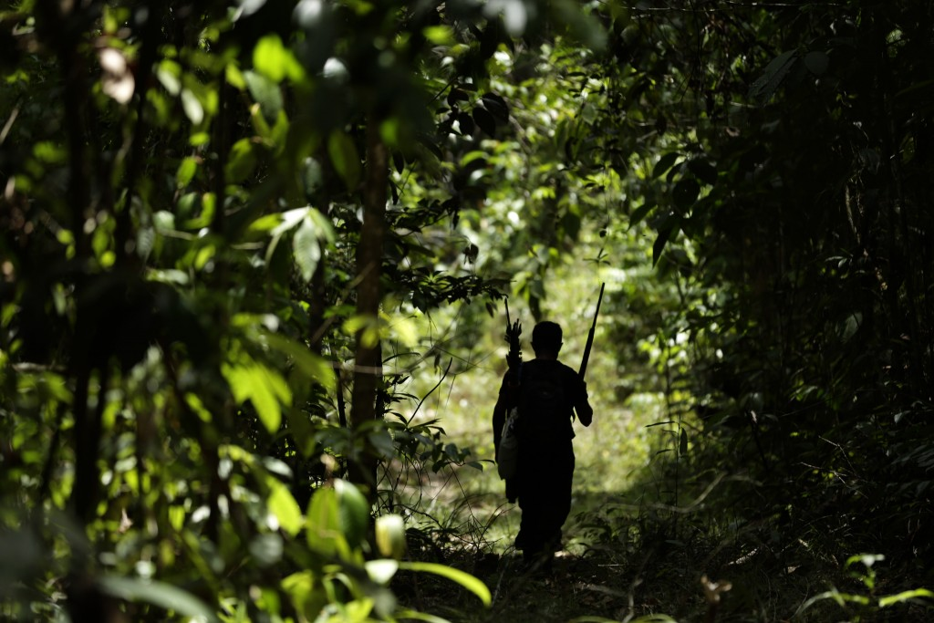 Tenetehara Indigenous man Regis Tufo Moreira Tembe patrols with the Ka'Azar, or Forest Owners, on the Alto Rio Guama reserve in Para state, near the c...