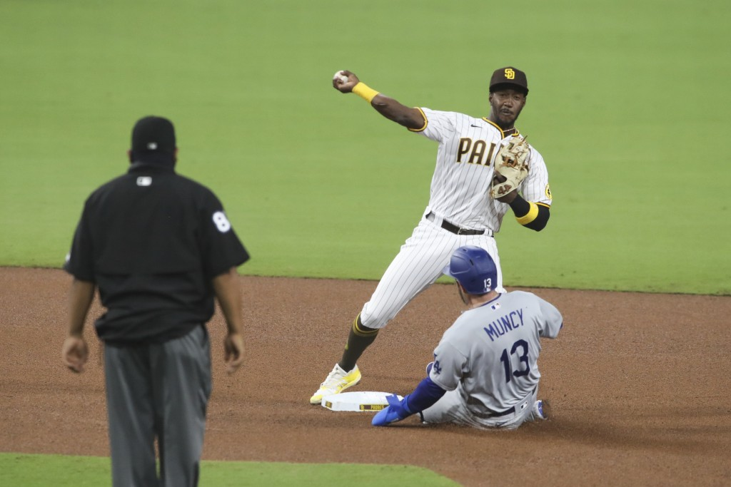 CORRECTS TO PADRES' JORGE MATEO NOT JURICKSON PROFAR - San Diego Padres second baseman Jorge Mateo, top right, attempts to turn a double play as Los A...