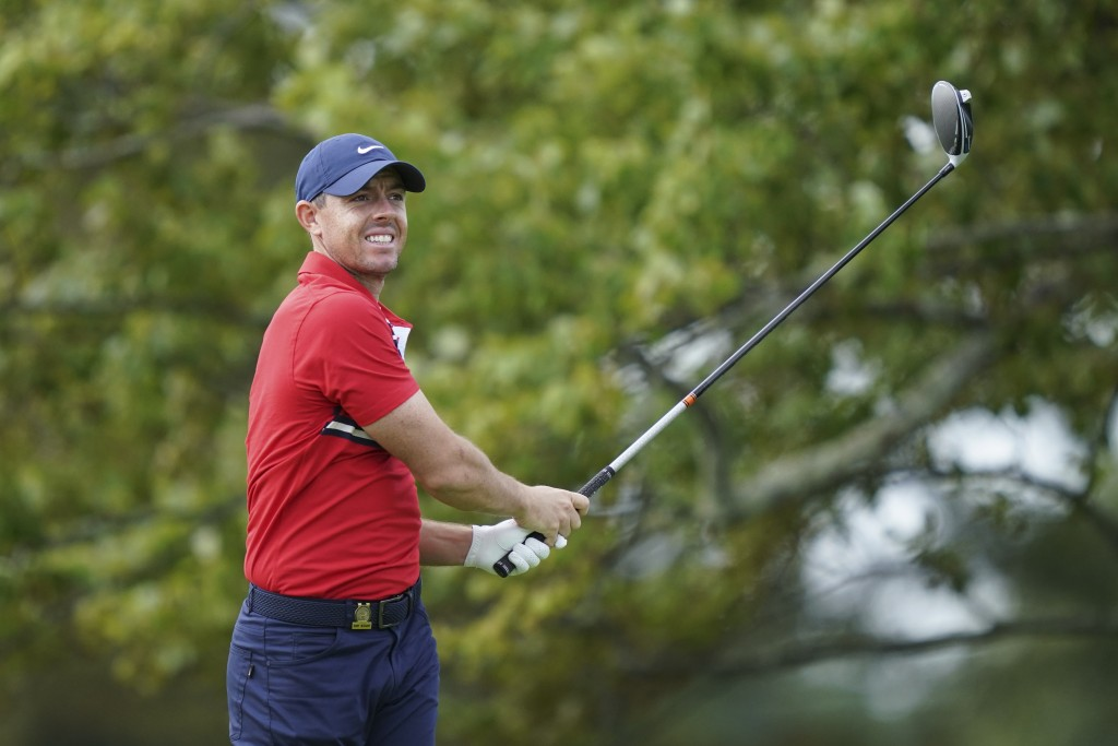 Rory McIlroy practices before the U.S. Open Championship golf tournament, Monday, Sept. 14, 2020, at the Winged Foot Golf Club in Mamaroneck, N.Y. (AP...