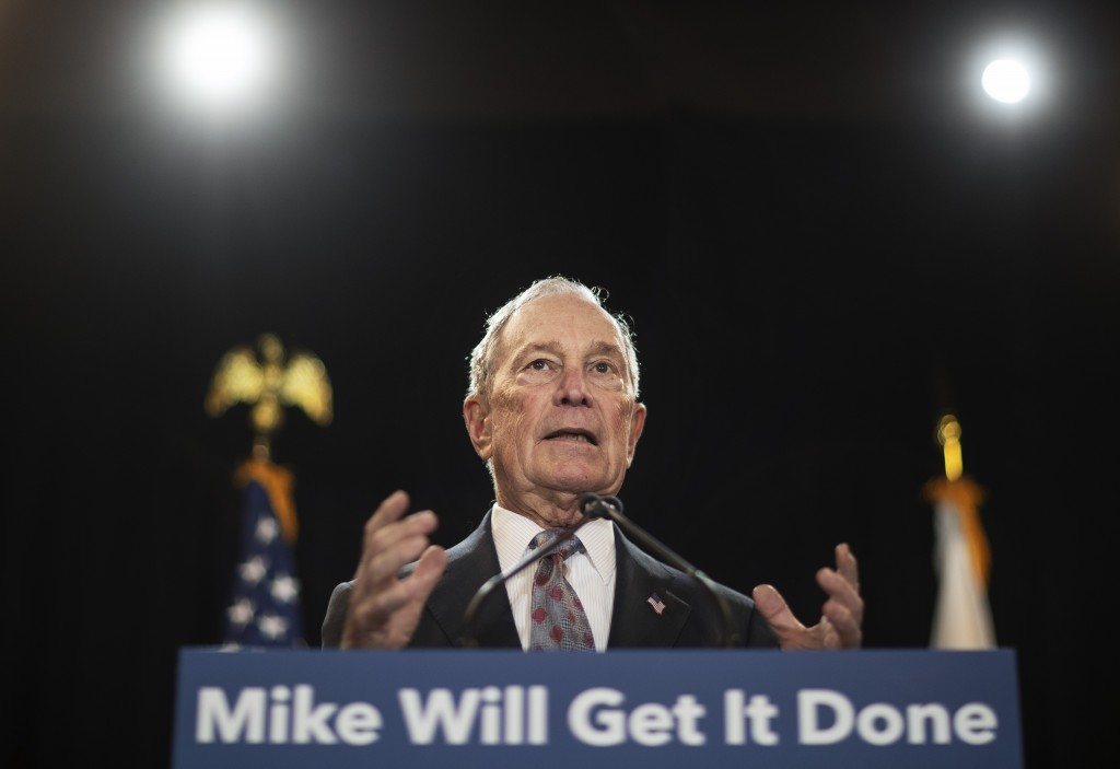 FILE - In this Feb. 5, 2020, file photo, then-Democratic presidential candidate and former New York City Mayor Michael Bloomberg speaks at a campaign ...
