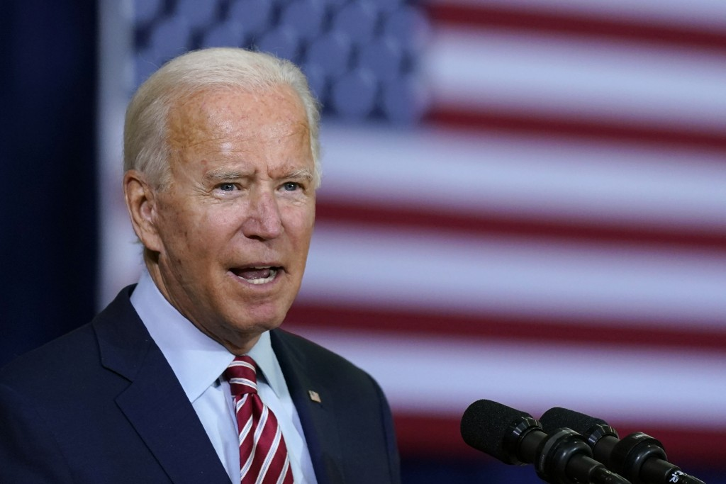 Democratic presidential candidate former Vice President Joe Biden speaks before participating in a roundtable discussion with veterans, Tuesday, Sept....