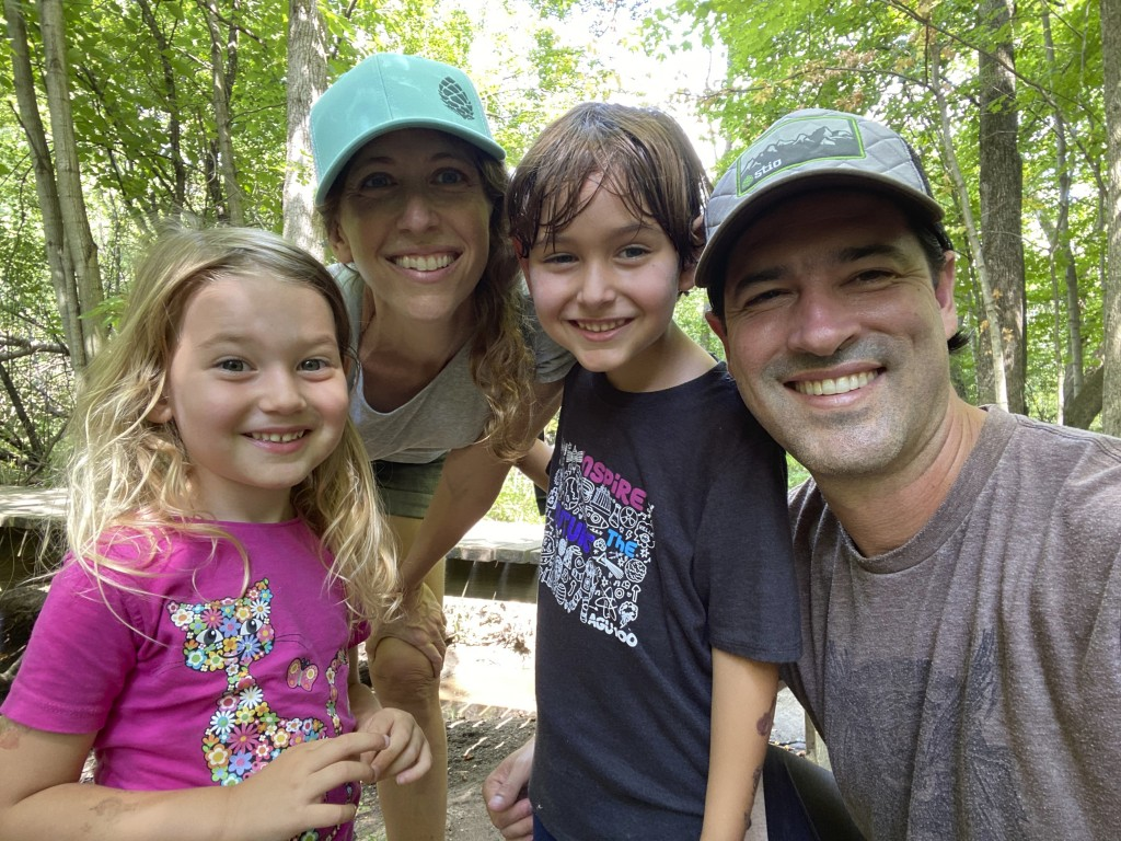 This Aug. 23, 2020 photo released by Jamie Bender shows Bender with her husband David Terry, right, and their children Miranda, 3, left, and Matthew, ...