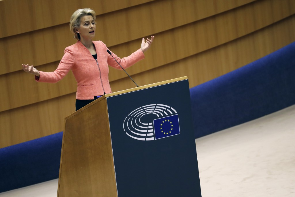 European Commission President Ursula von der Leyen addresses the plenary during her first State of the Union speech at the European Parliament in Brus...