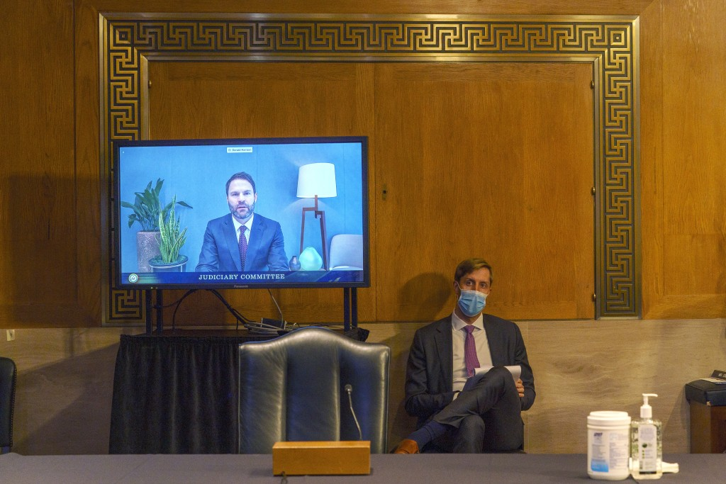 Donald Harrison, President of Global Partnerships and Corporate Development for Google, testifies via video conference during a Judiciary Subcommittee...