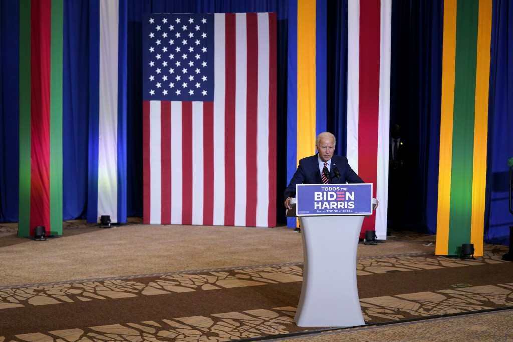 Democratic presidential candidate former Vice President Joe Biden speaks during a Hispanic Heritage Month event, Tuesday, Sept. 15, 2020, at Osceola H...