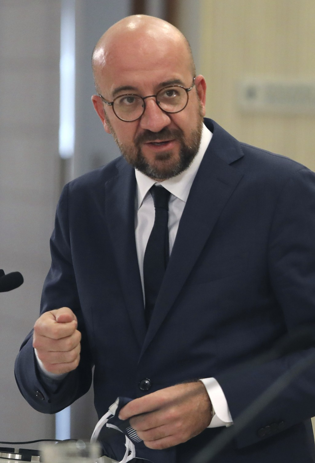 European Union Council President Charles Michel talks to the media during a press conference after a meeting with Cyprus President Nicos Anastasiades ...