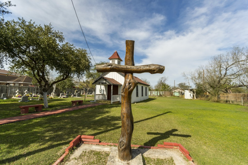 In this Feb. 2, 2019, photo, provided by the University of Texas Rio Grande Valley, is the Eli Jackson Methodist Church and cemetery in San Juan, Texa...