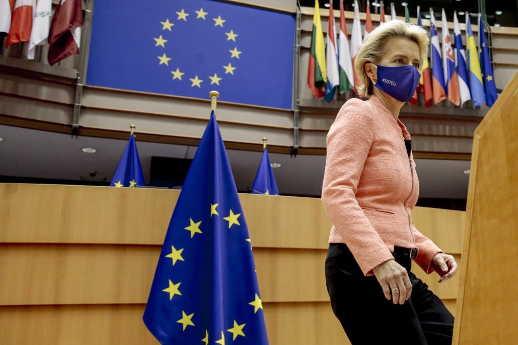 European Commission President Ursula von der Leyen arrives at the plenary ahead of her first State of the Union speech at the European Parliament in B...