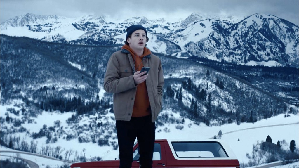 "This image released by Quibi shows Tye Sheridan in a scene from ""Wireless"" which follows a college student navigating the snowy Colorado mountains. (Q..."