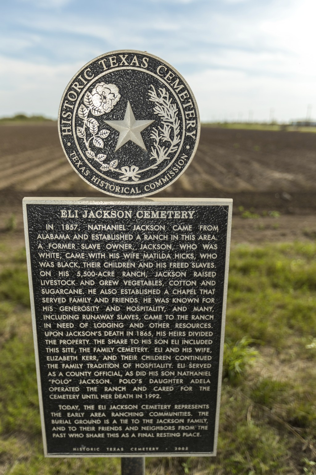In this Feb. 2, 2019, photo, provided by the University of Texas Rio Grande Valley, is a marker for the Eli Jackson Cemetery in San Juan, Texas. It is...