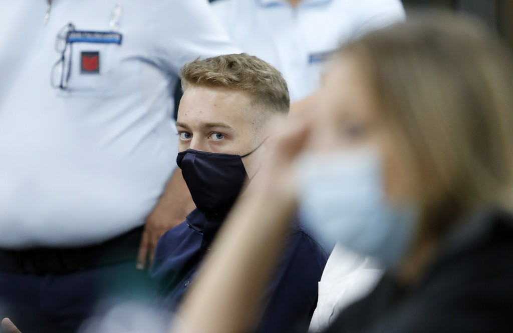 Finnegan Lee Elder, from California, looks on during a break in his trial where he and his friend Gabriel Natale-Hjorth are accused of slaying a plain...