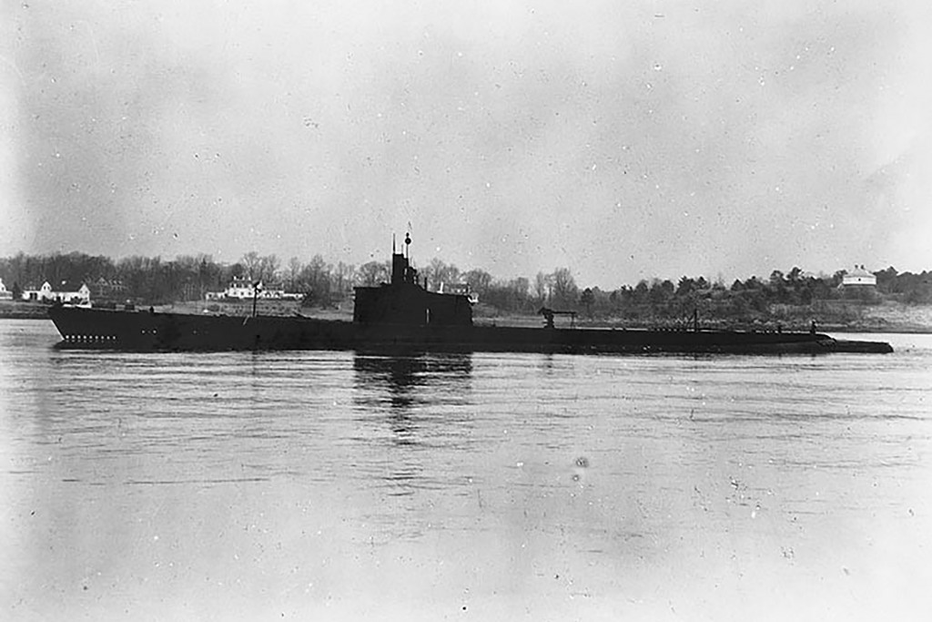 This Dec. 27, 1941, photo released by U.S. Navy shows USS Grenadier (SS-210) off Portsmouth, New Hampshire. Divers have found what they believe is the...