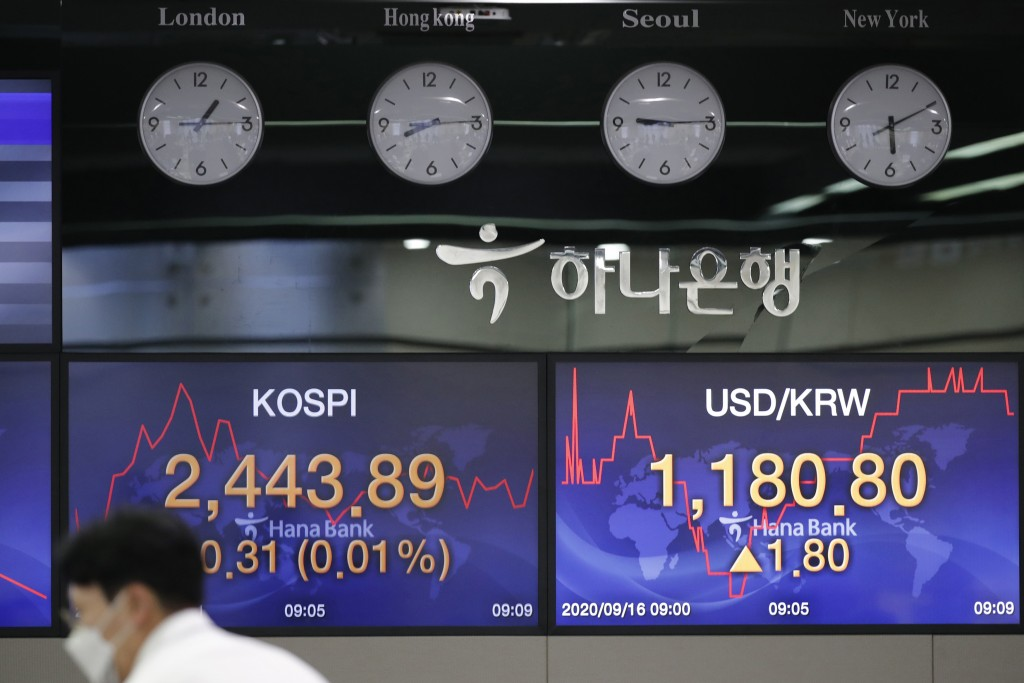 A currency trader works near screens showing the Korea Composite Stock Price Index (KOSPI), left, and the foreign exchange rate between U.S. dollar an...