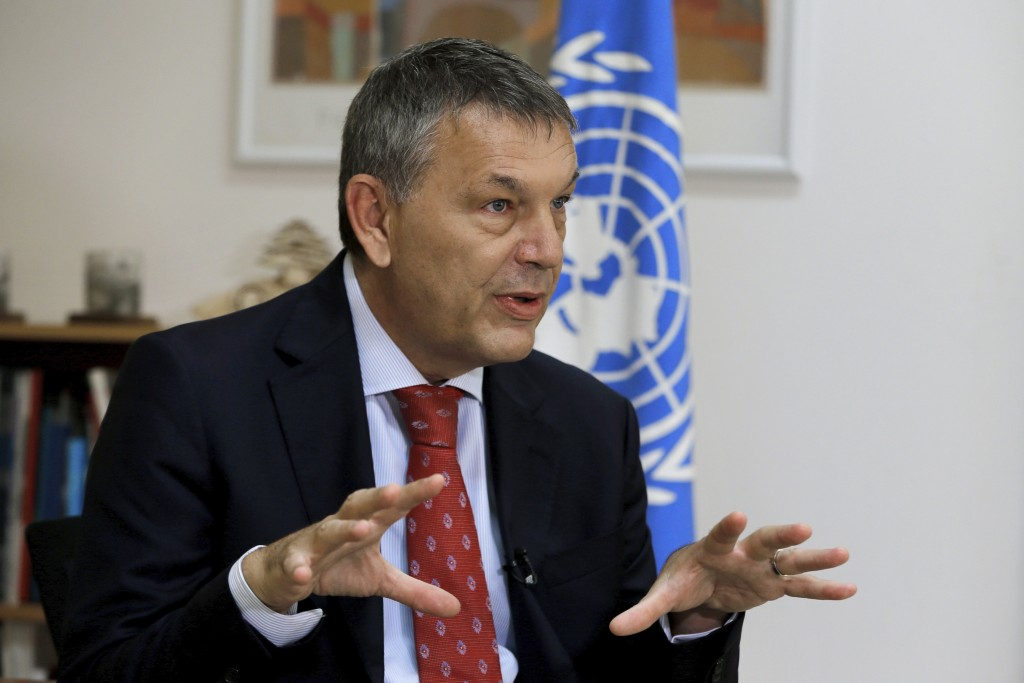 The Commissioner-General of the U.N. agency for Palestinian refugees Philippe Lazzarini, speaks during an interview with The Associated Press at the U...