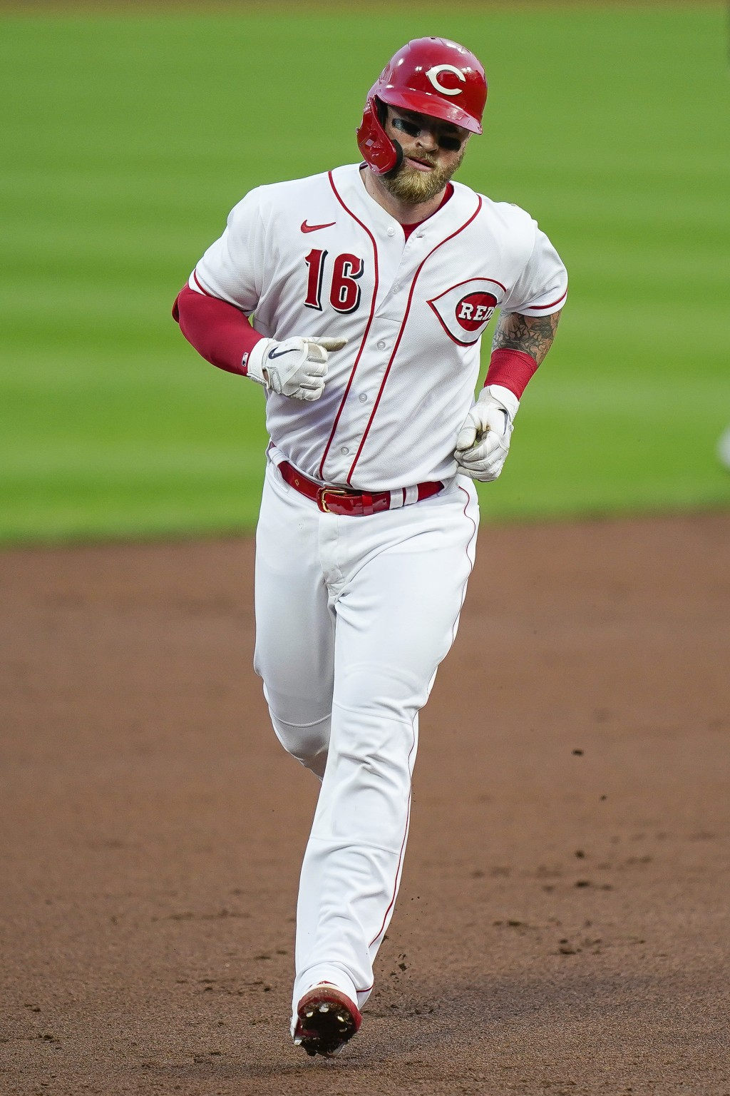 Cincinnati Reds' Tucker Barnhart runs the bases after hitting a home run during the second inning of the team's baseball game against the Pittsburgh P...