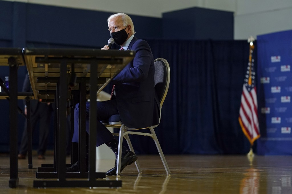 Democratic presidential candidate and former Vice President Joe Biden speaks during a roundtable discussion with veterans, Tuesday, Sept. 15, 2020, at...