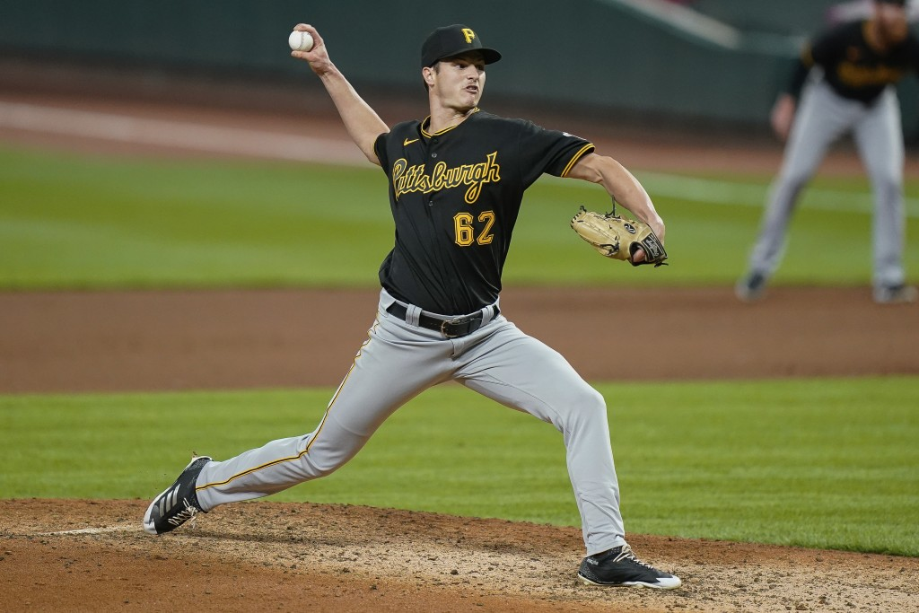 Pittsburgh Pirates pitcher Blake Cederlind throws during the sixth inning of the team's baseball game against the Cincinnati Reds in Cincinnati, Tuesd...
