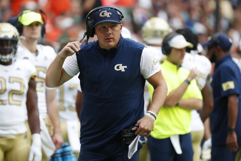 FILE - In this Saturday, Oct. 19, 2019, file photo, Georgia Tech head coach Geoff Collins is shown during the first half of an NCAA college football g...