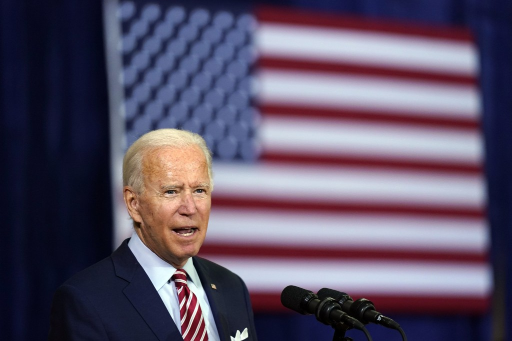 Democratic presidential candidate former Vice President Joe Biden speaks during a roundtable discussion with veterans, Tuesday, Sept. 15, 2020, at Hil...