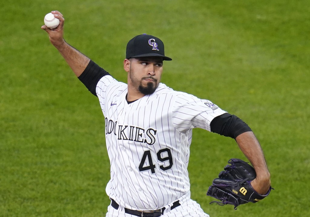 Colorado Rockies starting pitcher Antonio Senzatela throws to an Oakland Athletics batter during the first inning of a baseball game Tuesday, Sept. 15...