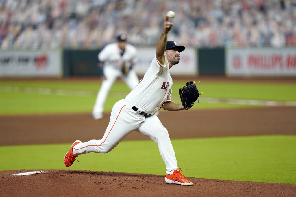 Houston Astros starting pitcher Jose Urquidy throws against the Texas Rangers during the first inning of a baseball game Tuesday, Sept. 15, 2020, in H...