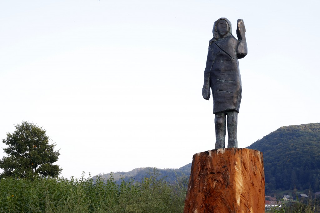 A bronze statue representing the U.S first lady Melania Trump made by Brad Downey, a Berlin-based U.S. artist, is erected in her birthplace of Sevnica...