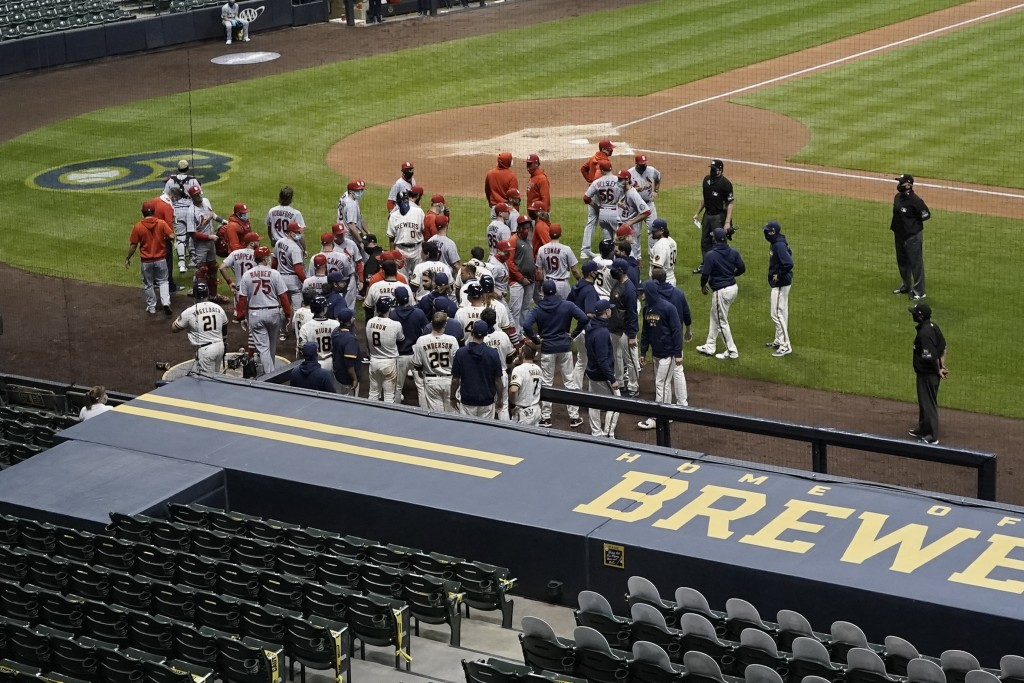 Both benches cleared during the fifth inning of a baseball game between the Milwaukee Brewers and the St. Louis Cardinals Tuesday, Sept. 15, 2020, in ...