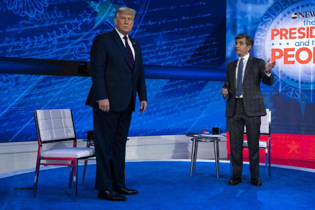 President Donald Trump talks with ABC News anchor George Stephanopoulos before a town hall at National Constitution Center, Tuesday, Sept. 15, 2020, i...