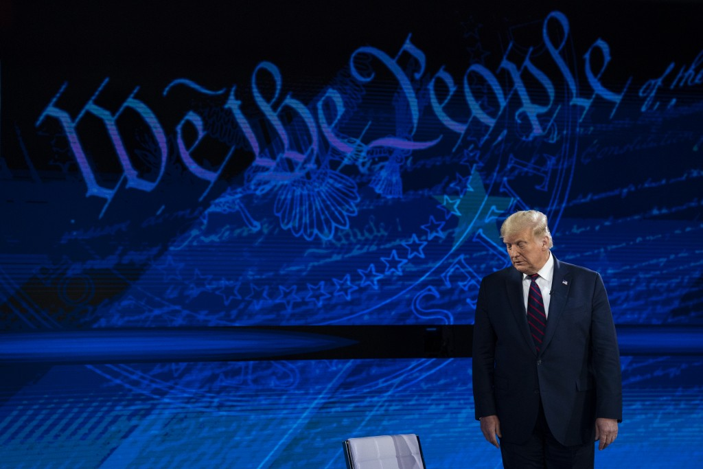 President Donald Trump arrives for an ABC News town hall at National Constitution Center, Tuesday, Sept. 15, 2020, in Philadelphia. (AP Photo/Evan Vuc...