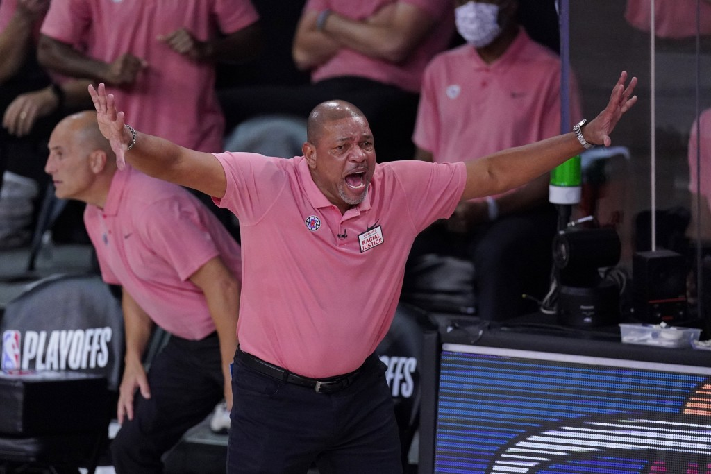 Los Angeles Clippers head coach Doc Rivers during the first half of an NBA conference semifinal playoff basketball game against the Denver Nuggets,Tue...