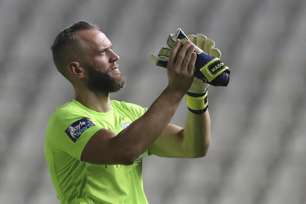 FILE - In this Thursday, Aug. 1, 2019 file photo, Shamrock Rovers' goalkeeper Alan Mannus after the Europa League second leg second qualifying round s...