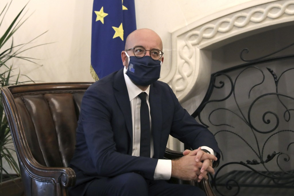 European Union Council President Charles Michel wears a face mask to prevent the spread of COVID-19 during a meeting with Cyprus President Nicos Anast...