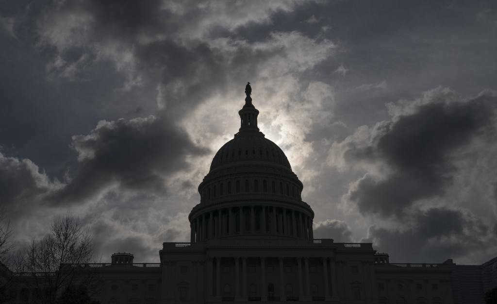 FILE - In this April 12, 2019, file photo, morning clouds cover Capitol Hill in Washington, as Congress leaves for a two week recess. Philanthropy is ...