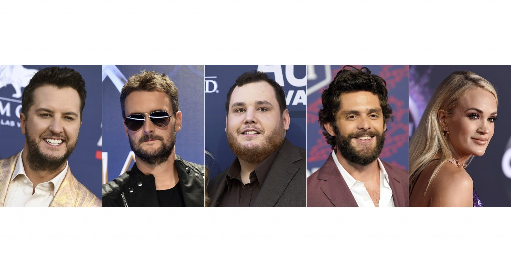 This combination photo shows, from left, Luke Bryan, Eric Church, Luke Combs, Thomas Rhett and Carrie Underwood, nominees for entertainer of the year ...