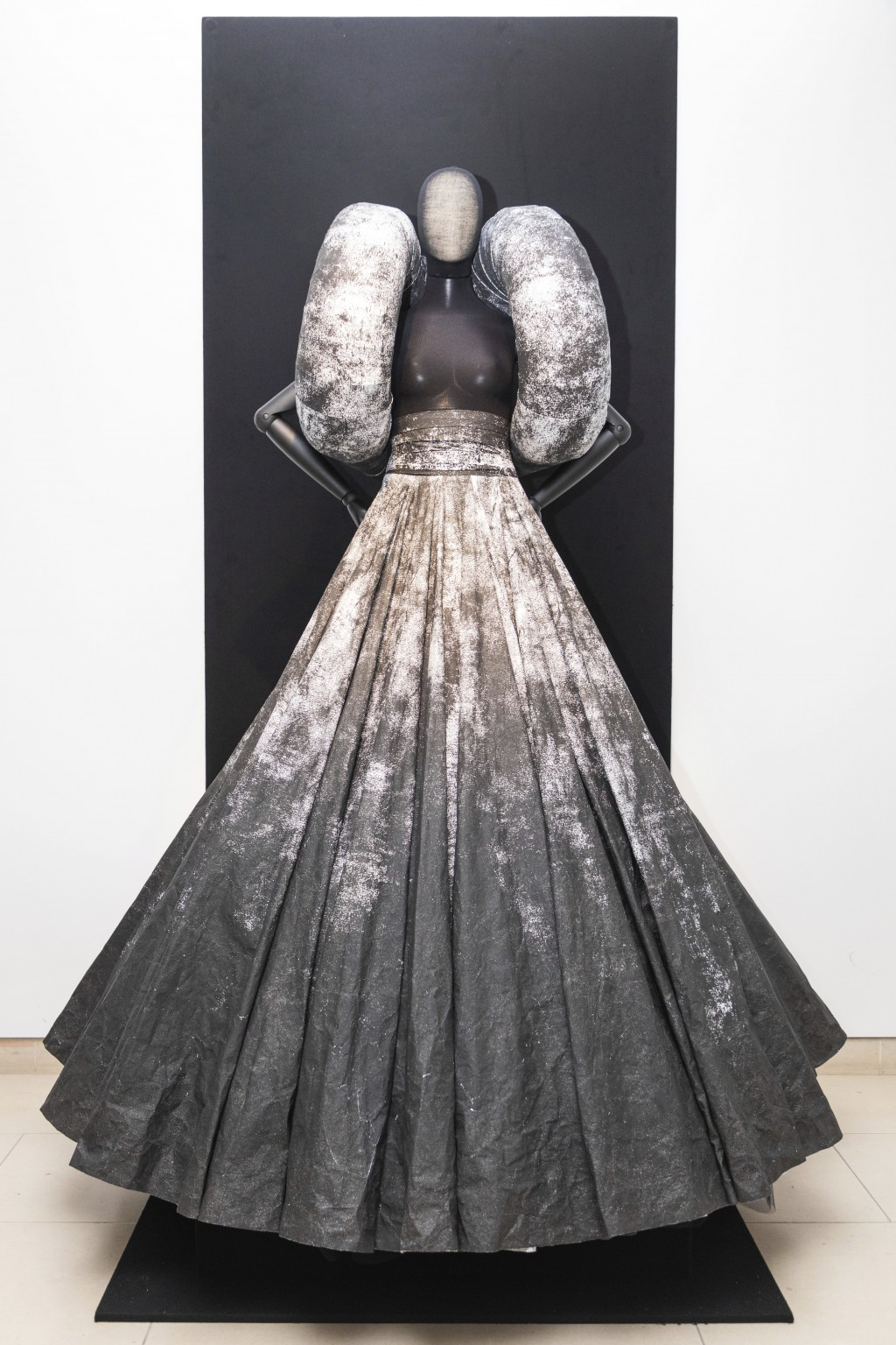 A creation by fashion designer Gareth Pugh is exhibited ahead of his London Fashion Week show in London, Wednesday, Sept. 16, 2020. (Photo by Vianney ...