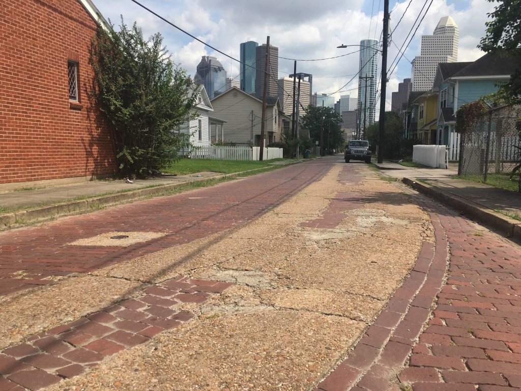 In this Sept. 27, 2017 photo are the cobblestone streets of Freedmen's Town, an area built by emancipated slaves after the Civil War in Houston. The a...
