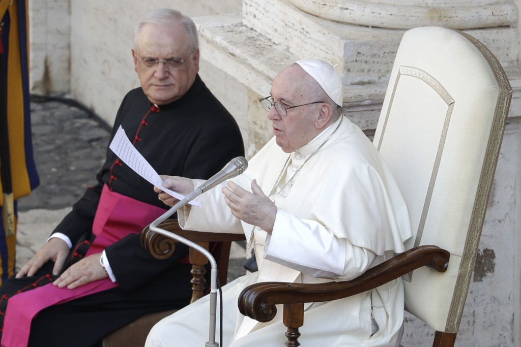 Pope Francis delivers his message in the St. Damaso courtyard on the occasion of his weekly general audience at the Vatican, Wednesday, Sept. 16, 2020...