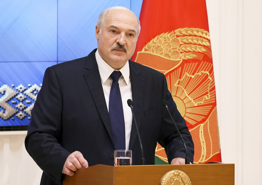 Belarusian President Alexander Lukashenko speaks during a meeting with the country's political activists in Minsk, Belarus, Wednesday, Sept. 16, 2020....